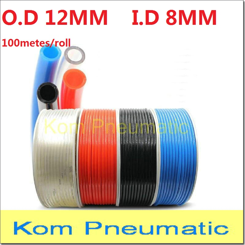 OD 12MM ID 8MM 100m lot High Quality Pneumatic Hose PU Tube Plastic Flexible Pipe PU