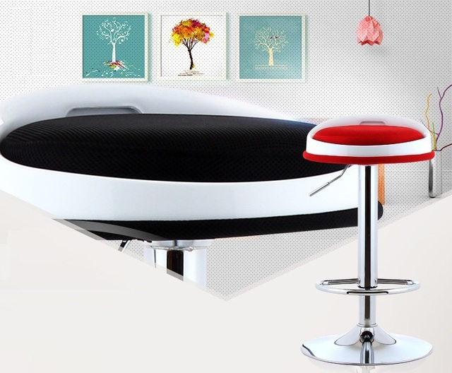 Tentoonstelling kruk informatie bureau stoel zwart groen rood