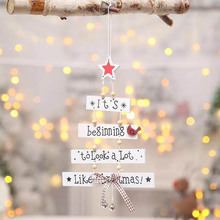 New Year Decoracion Navidad Merry Christmas Wooden Small Pendant Colorful Letters Creative Tree Decoration For Home