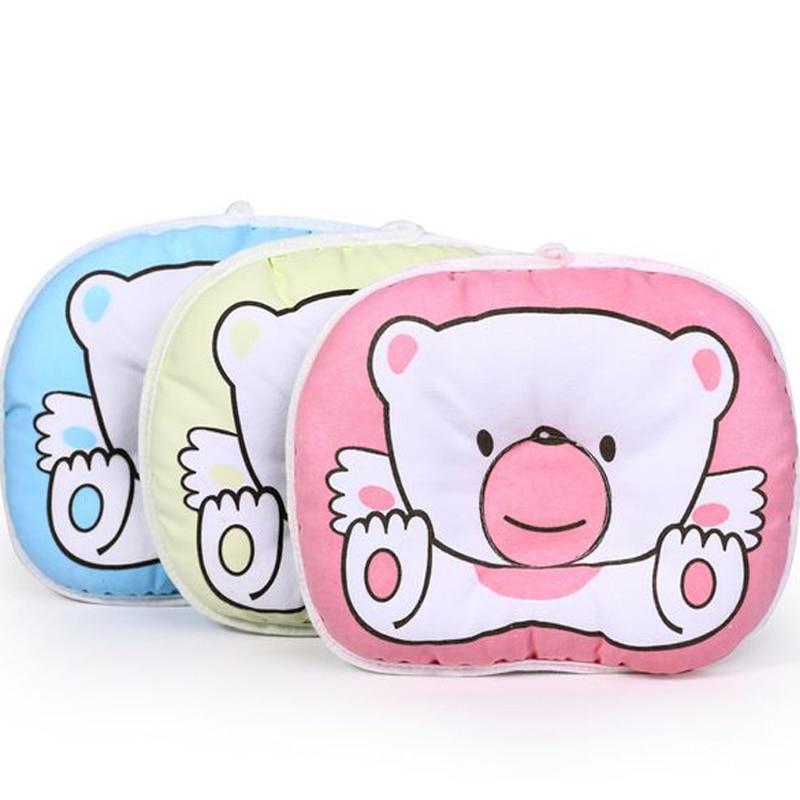 Newborn Infant Baby Bear Pattern Pillow Sleeping Support Prevent Flat Head Cushion Plush Animal Shape Cute Soft Pillow