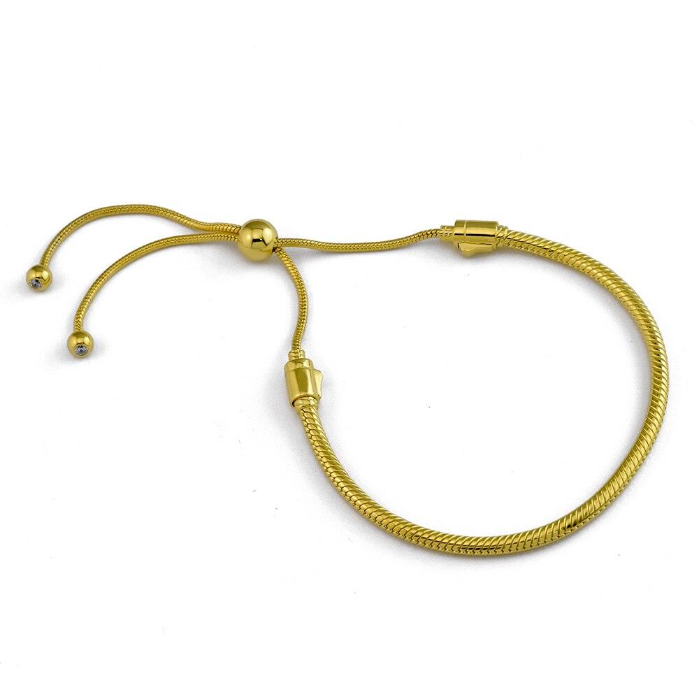 Moments bracelets pour femme coulissante argent 925 bijoux or brillant bracelets porte-bonheur bricolage faisant pour Bracelet de chaîne de mode perlé