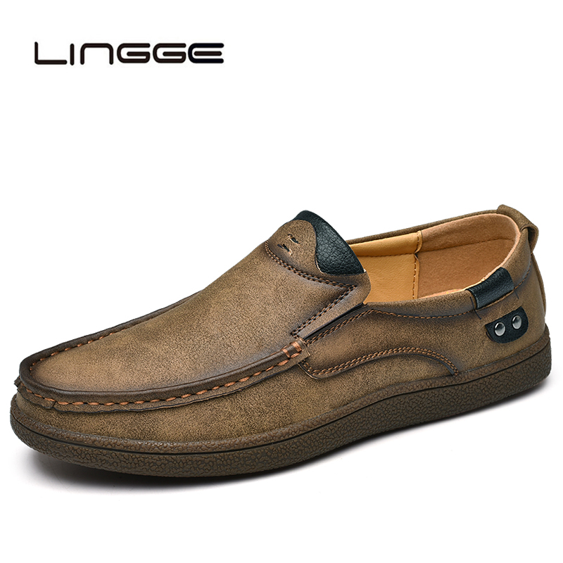 LINGGE 2019 Brand Split Leather Shoes Classic Fashion Mens Casual Shoes Spring Breathable Men Loafers Autumn Men's Flats Shoes