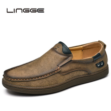 LINGGE 2019 Brand Split Leather Shoes Classic fashion Mens Casual Spring Breathable Men Loafers Autumn Flats