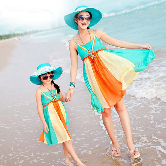 Family Look Mother Daughter Dresses Family Clothing 2017 Summer Style Family Matching Outfits Vestidos for Girls Women Dresses