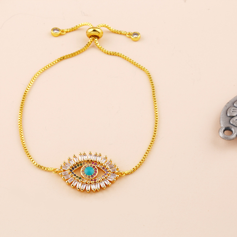 Fashion Boho Bohemian Colorful Turkish Evil Eye Bar Rainbow Bracelets for Women Gold Color Trendy Rainbow CZ Charm Bracelets in Chain Link Bracelets from Jewelry Accessories