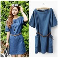 Women's Wash Denim Dresses 2016 Summer New Fashion Woman Casual Loose O-neck Dress Female Denim Dress +Belt XS-3XL Free Shipping