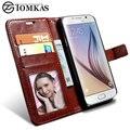 S6/s6 edge funda cartera de cuero para samsung galaxy s6 g9200 coque teléfono funda para el samsung galaxy s6 edge con ranura de fotos