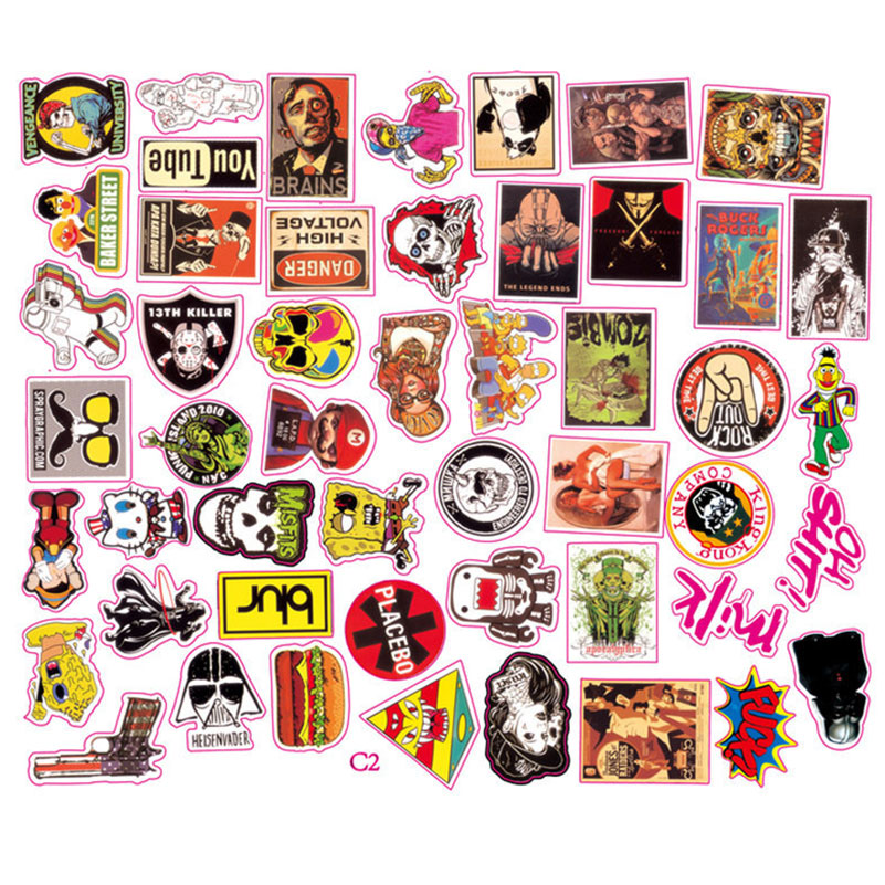 50pcs Mixed Funny Brand Laptop Stickers for Home Furniture Notebook Case Decal Waterproof Fridge Skateboard Motor Doodle toy
