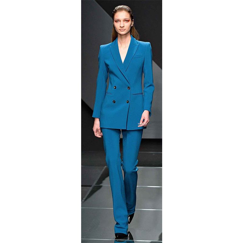 Trousers Jacket + Blue Lake Business Women Suits Blazer Office Womens Uniform Double Breasted Winter Suits Formal Pants