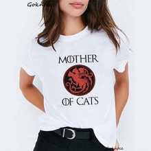 Mother of cats Women tshirt Dragons print white t shirt vogue t-shirt Game Thrones harajuku tee femme summer tops