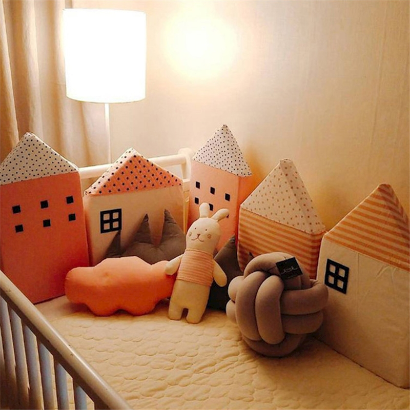 Nordic 4pcs Baby Bed Bumper Little House Pattern Crib Protection Infant Cot Newborn Bedding Room Decor For Girls Boy Protector