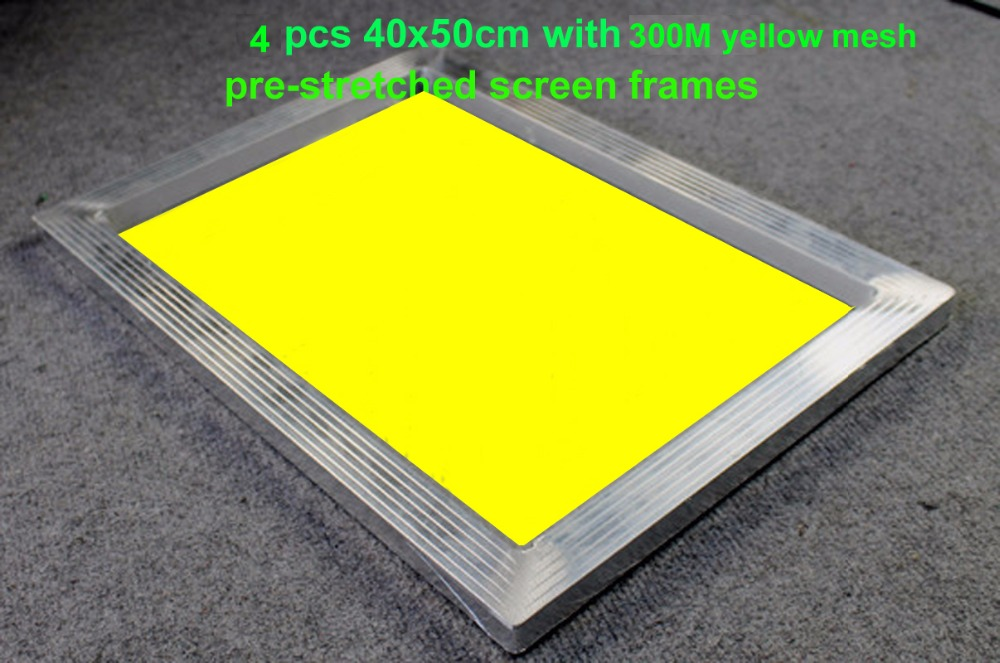 4 pcs inner size 40x50cm with 120T 300M Yellow Mesh Aluminum Stretched Screen Frames Silk Screen Printing Tools Materials anti static elastic finger cots stalls yellow size l 50 pcs