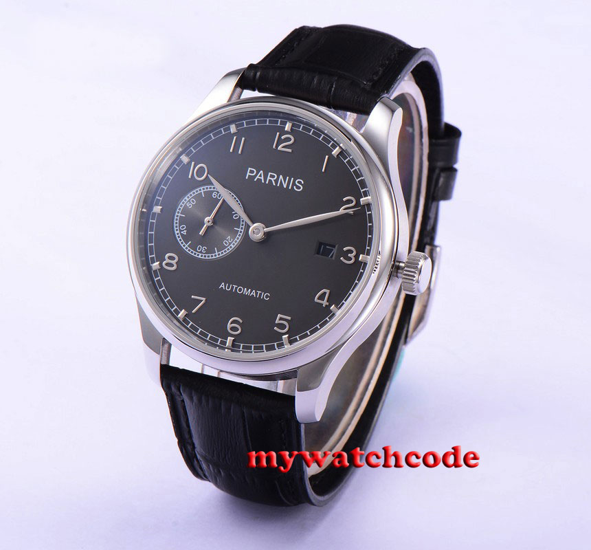 43mm parnis gray dial automatic movement black leather mens watch P586 40mm parnis white dial vintage automatic movement mens watch p25