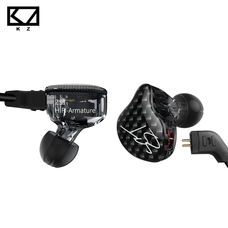 KZ ZST Dual Driver Earphone Dynamic And Armature Detachable Bluetooth Cable Monitors Noise Isolating HiFi Music Sports Earbuds kz zsr bluetooth headphones balanced armature with dynamic in ear earphone 2ba 1dd unit noise cancel headset replacement cable