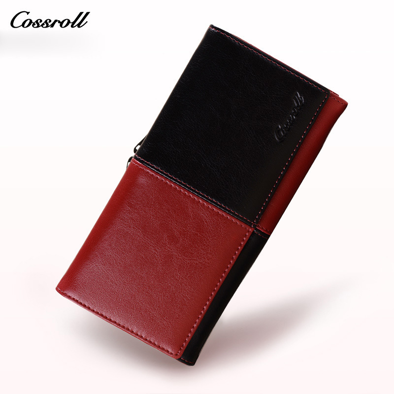 Genuine Cow Leather Wallet Women Patchwork Designer Purse Luxury Brand Clutch Ladies Purse Wallets With Smart Phone Wallet