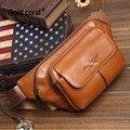 Fanny couro casual bolsas bolsas de couro genuíno homem Moda saco pacote de cintura pequena bolsa de viagem sacos de carteira para os homens Frete grátis