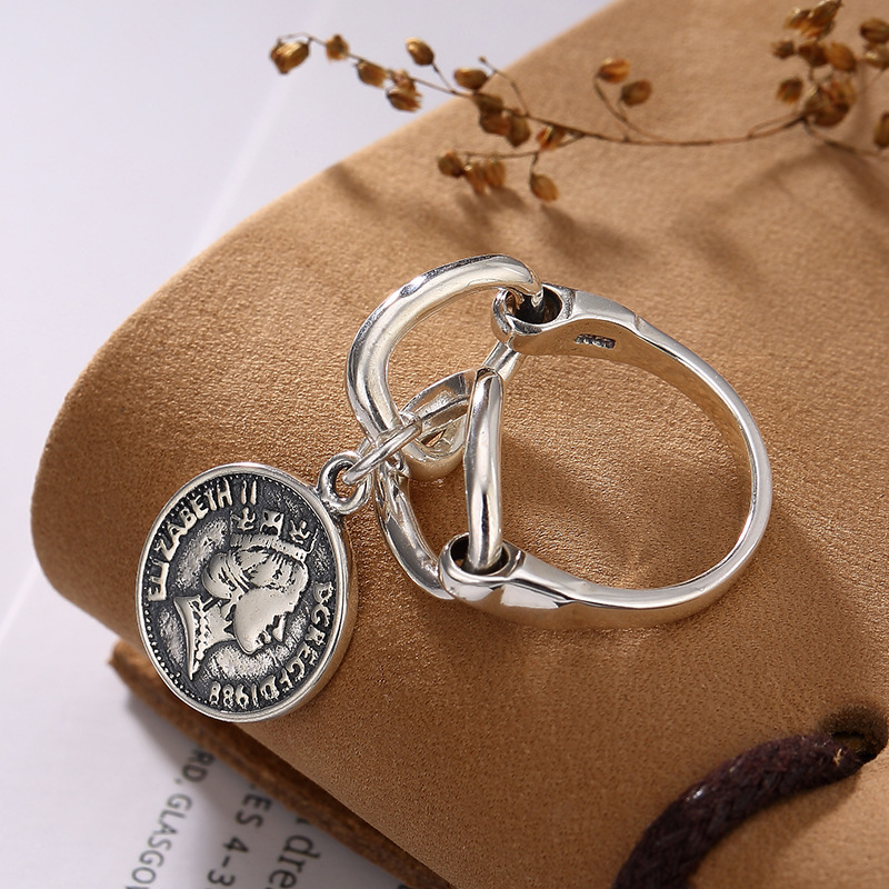 LouLeur 925 Sterling Silver Portrait Coin Rings Vintage Two-sided Graphics Design Figure Coin Rings For Women Fine Jewelry Gift