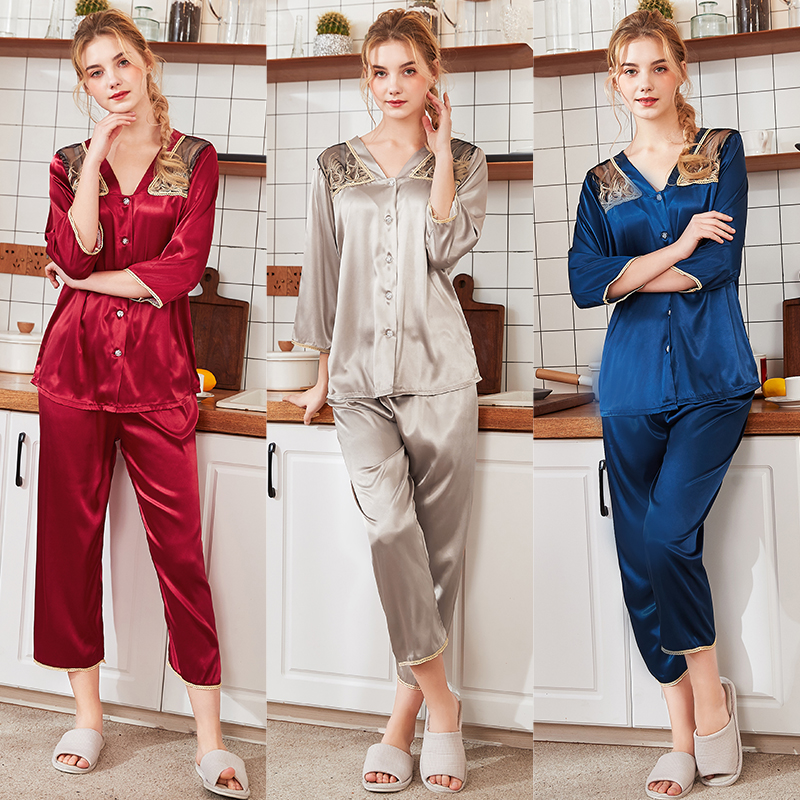 Wasteheart Spring Red Blue Women's Sleep Lounge   Pajama     Sets   Sleepwear Embroidery Nightwear Suits Faux Silk Plus Size Nightgown