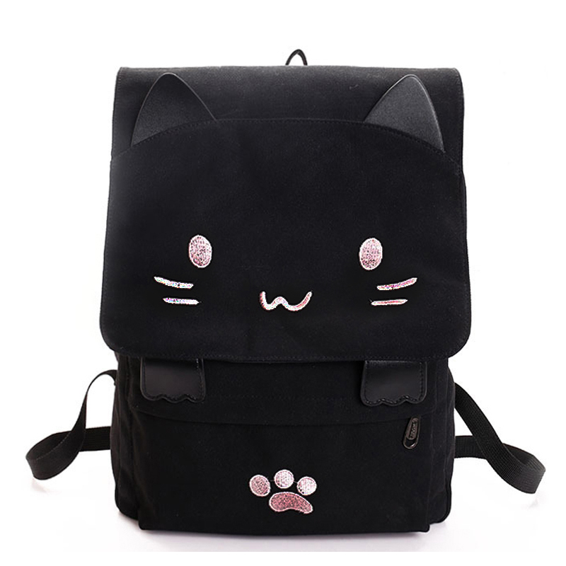TEXU Cute Cat Embroidery Canvas Student Bag Cartoons Women Backpack Leisure School Bag Black&pink