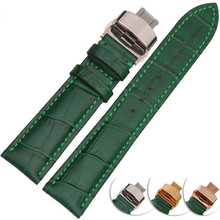 New 12 14 16 18 20 22 mm Genuine Leather Watch Bands Green Replacement Straps Watchband Men Women 316L Stainless Steel Buckle leather watchband strap 12 14 16 18 19 20 22 24 mm stainless steel buckle men women replace band watch accessories