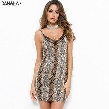 DANALA Sexy Lace Women Night Dress Deep V-Neck Snake Print Sling Sleepwear Nightgown Home Wear