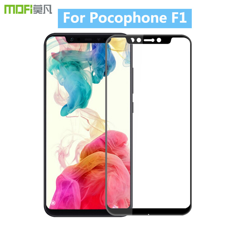 For Xiaomi Pocophone F1 MOFi 3D Hot Bending Curved Full Cover Tempered Glass Screen Protector Film For Xiaomi Pocophone F1