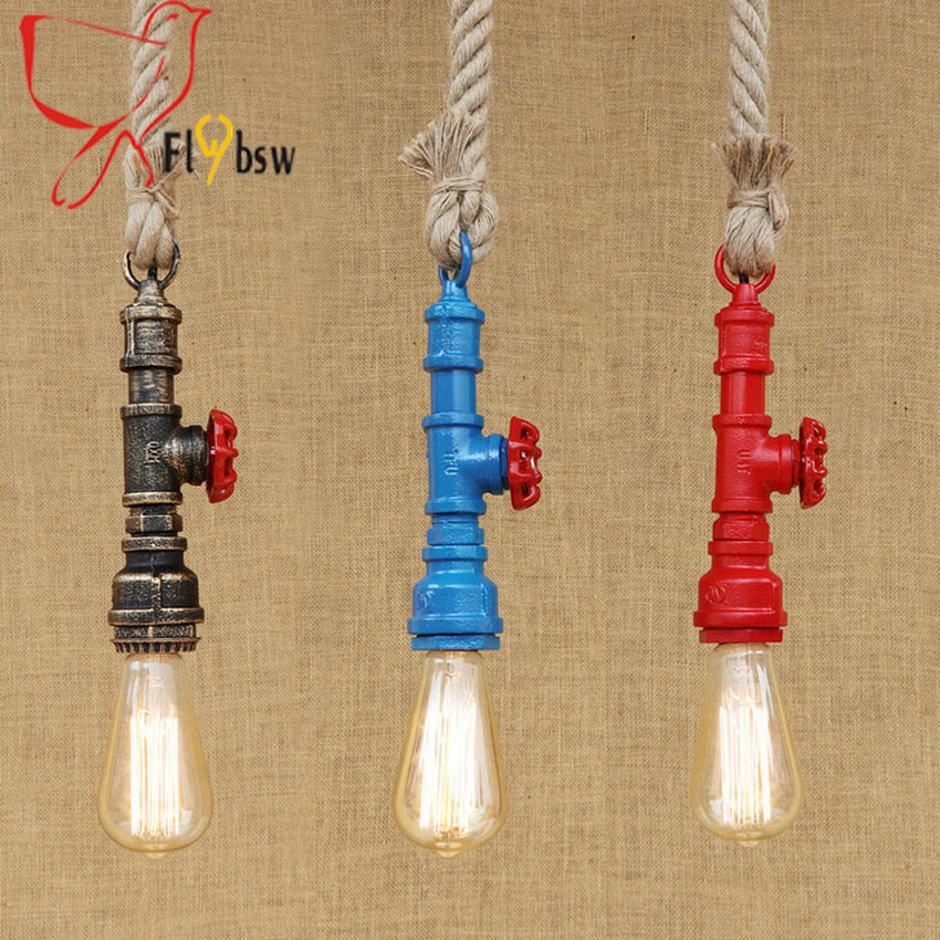 Vintage red/blue/copper water Pipe pendant lamp nordic retro creative hemp rope droplight light for loft bedroom bar Restaurant