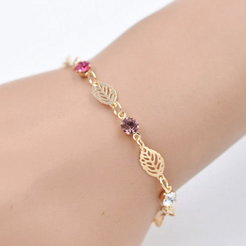 New fashion Women Pendant accessories Chain Bracelet gold Color Crystal Leave romantic Chain Barcelets beauty Free shipping