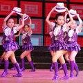 Trajes de dança moderna para crianças trajes luminosos crianças roxo dança dress para meninas