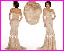 Champagne Cap Sleeve Sheath Lace Long Evening Gowns Mother Dresses Free Shipping E3478