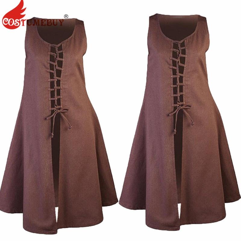 Costumebuy Renaissance Pirate Women Dresses Cosplay Medieval Sleeveless Vest Dress Victorian Summer Lace Up Dress Jacket Coat
