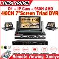 """Novo! AHDM DVR 4/8 Canal CCTV DVR AHD analog hd Híbrido 7 """"lcd DVR/1080 P NVR 4em1 Vídeo monitoramento Remoto Do IOS android"""