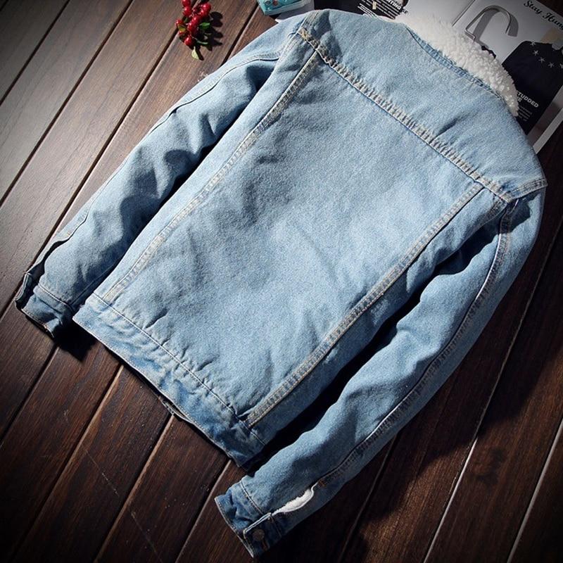 Warm Fleece Denim Jacket 2018 Winter Fashion Mens Jean Jacket Men Jacket and Coat Trendy Outwear Male Cowboy Clothes homme S-2XL 3