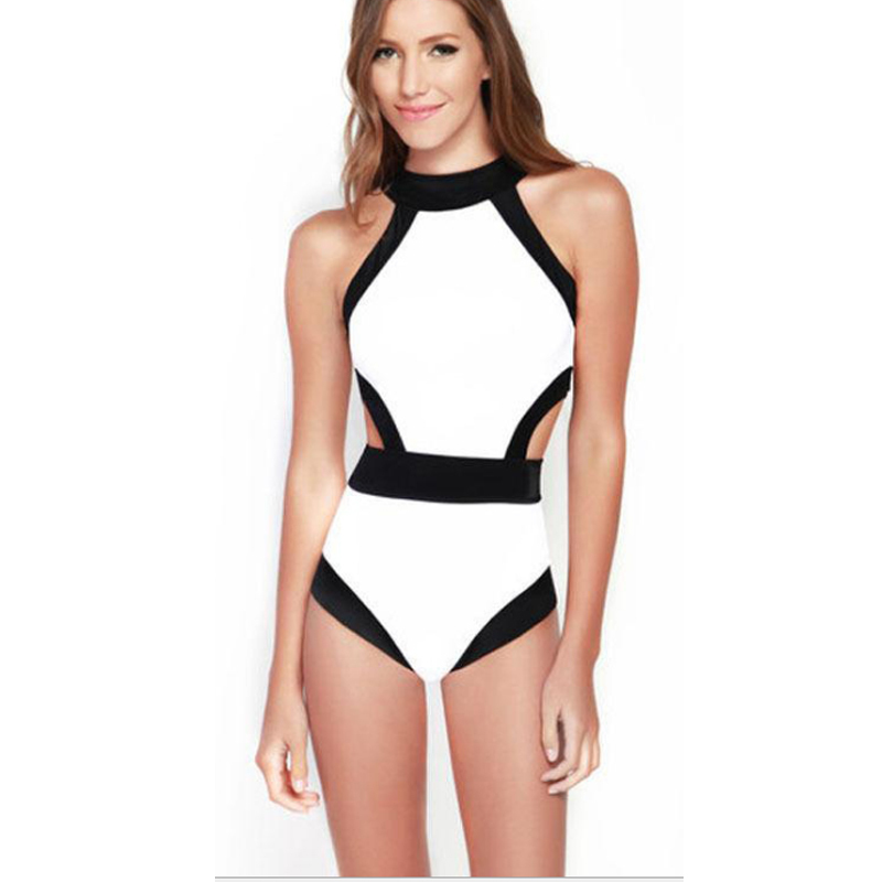 One Piece Swimsuit Vintage High Neck Swimsuit Monokini Candy Color High Cut Swimsuit One Piece Beachwear For Women Bathing Suits fashionable strappy printed cut out one piece swimsuit for women