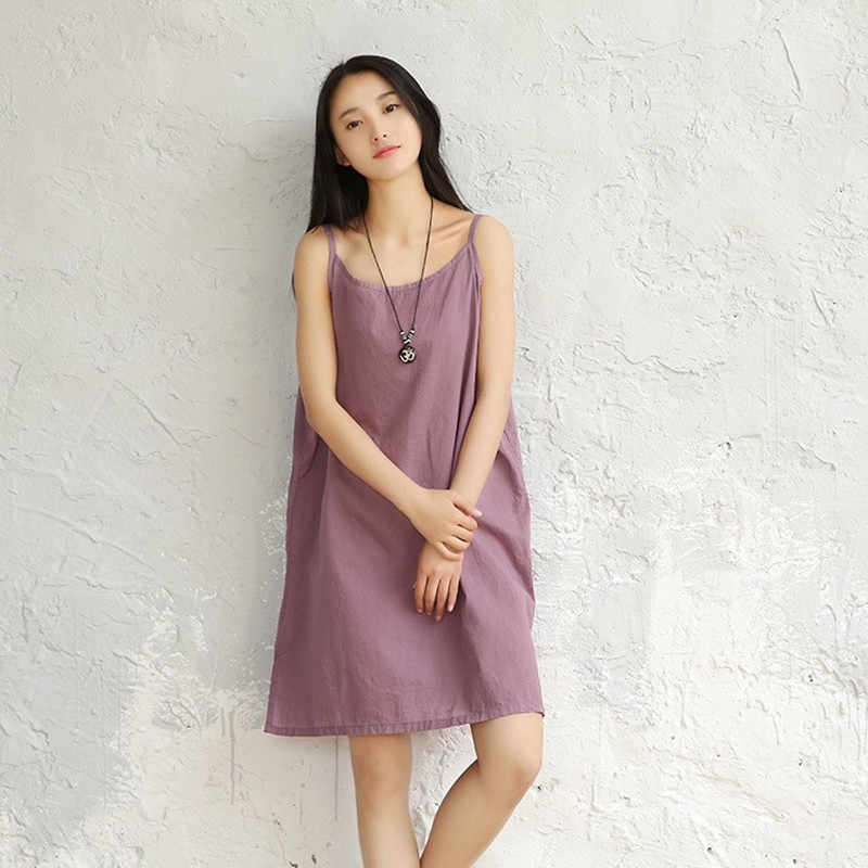 2884a7e5264 Woman Dresses Cotton Slips Solid Camisole Women Full 100% Ladies ...