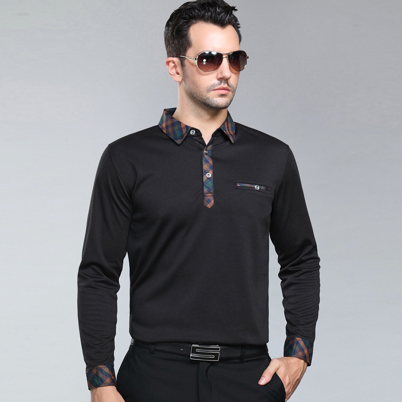 2018 new fashion   polo   homme middle-aged male spring autumn men's father put mens long sleeve shirts   polo   solid breathable camisa