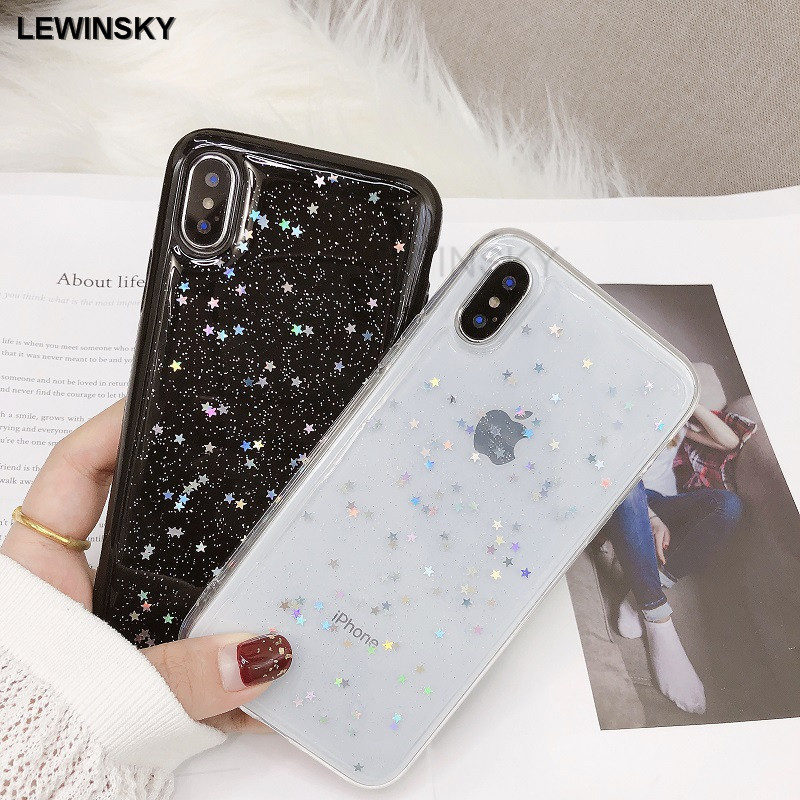 Fashion Bling Glitter Soft Phone Cases For iphone 7 Case Cute Star Back Cover For iphone X 6 6s 7 8 Plus Shining Silicon Cases