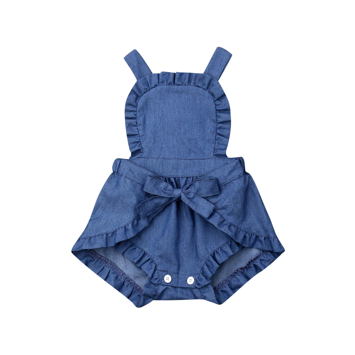 9b92a0528f2b8 New Baby Girl Ruffle Denim Bodysuit Jumpsuit Summer Clothes One Piece  Outfit Sunsuit