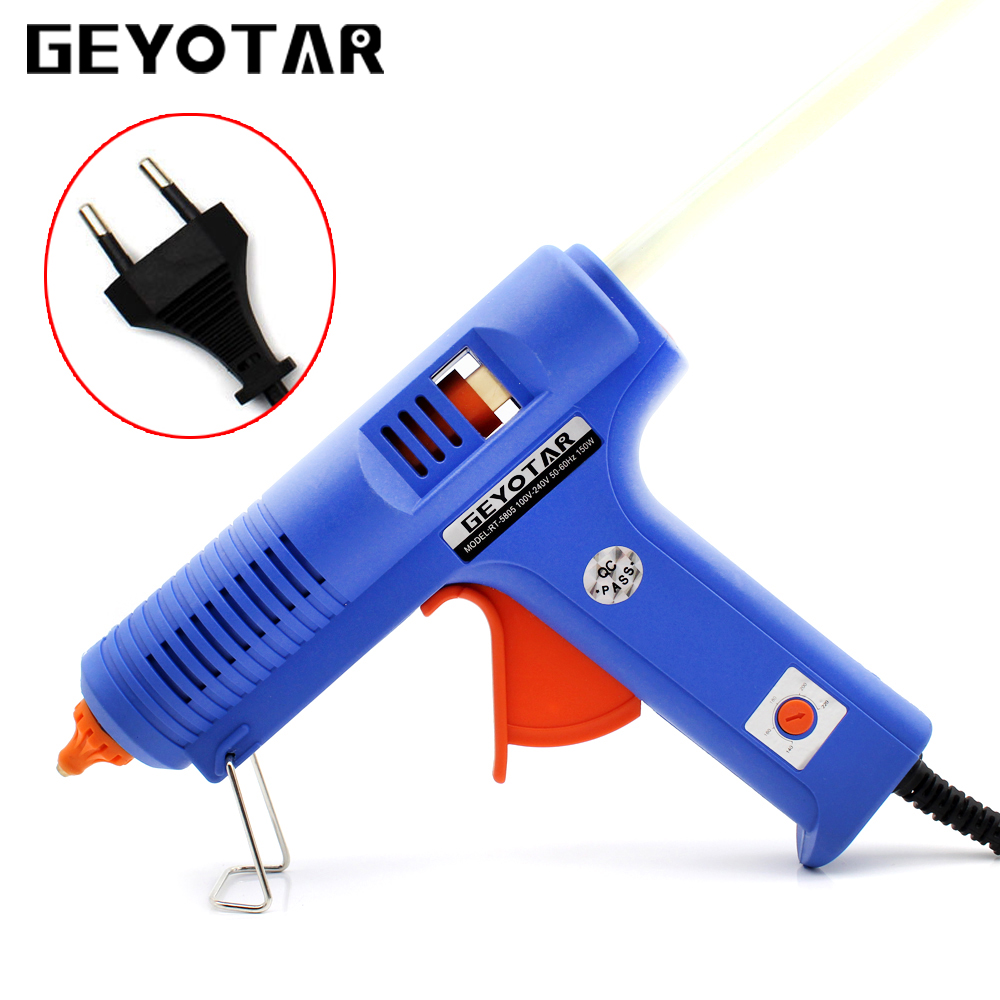 150W EU Plug Hot Melt Glue Gun with Free 1pc 11mm Stick Heat Temperature Tool Industrial Guns Thermo Gluegun Repair Heat tools home professional high temp heater 20w hot melt glue gun repair heat tools eu plug with 1pc glue stick kf