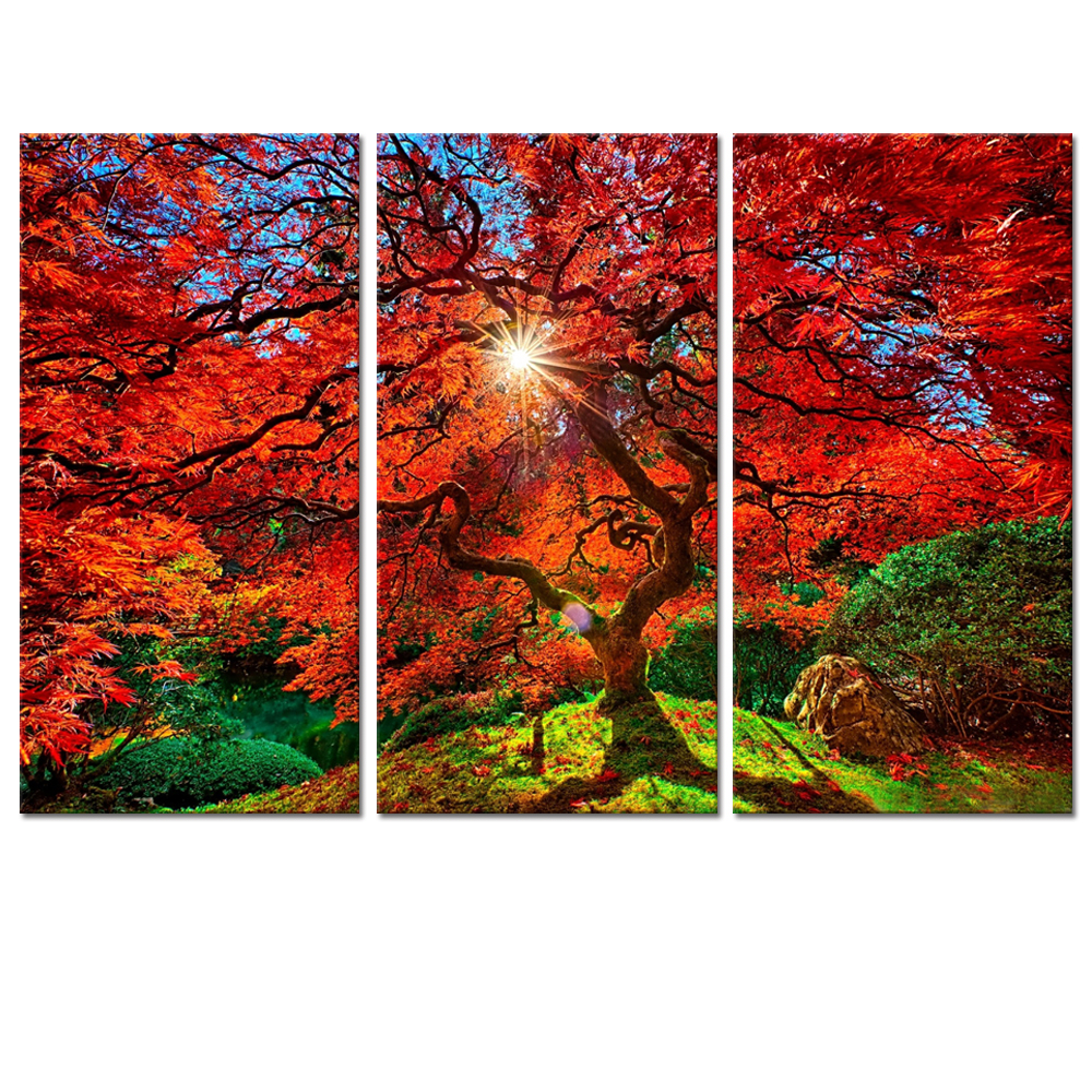 Visual Art Decor Maple Tree Picture Canvas Print Multi Panels Photo Printed on Canvas Home Wall Decoration Red Trees Wall Art
