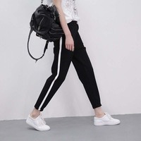 Korean Style Plus Size Women Side Striped Harem Pants Elastic Waist Freddy Pants For Women Trousers