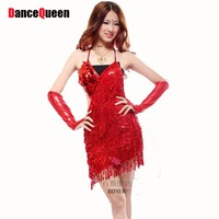 China Sequin Tassel Latin Salsa Tango Ballroom Dance Night Dress Costumes Clothes For Competition With Fringe For Sale Cheap