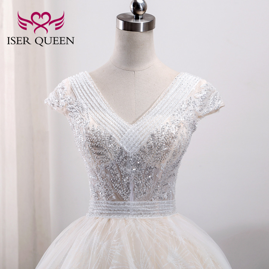 Short Sleeve V Neck Embroidery Arab V Neck Heavy Beading Europe Fashion Wedding Dress 2019 Wedding Gown Robe De Mariee WX0003