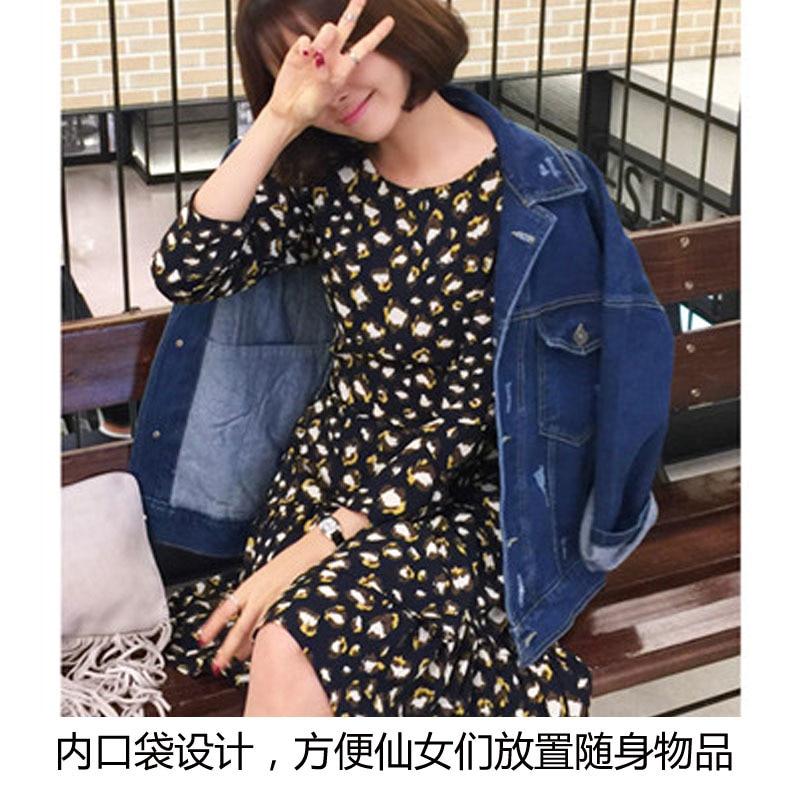 Denim Jean 2019 Pockets Sleeve Feminino Loose Harajuku Autumn Female Navy Blue Spring Casaco Jacket Boyfriend Coats Women Long 8xwEW0qC