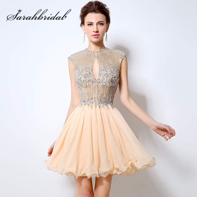 27d8b4927a Online Shop Luxury Beaded Crystal Prom Dresses 2018 Real Photo Short Blush  Chiffon High Neck Sexy Women Evening Party Gown OL012