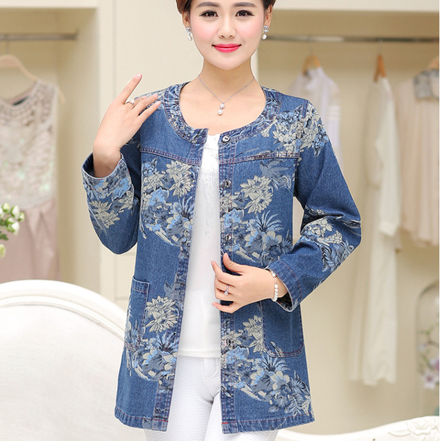 3548cae306 2019 New Fashion Middle Aged Women Jean Shirts Blouse Women s Denim Shirts  Long-Sleeved Printed