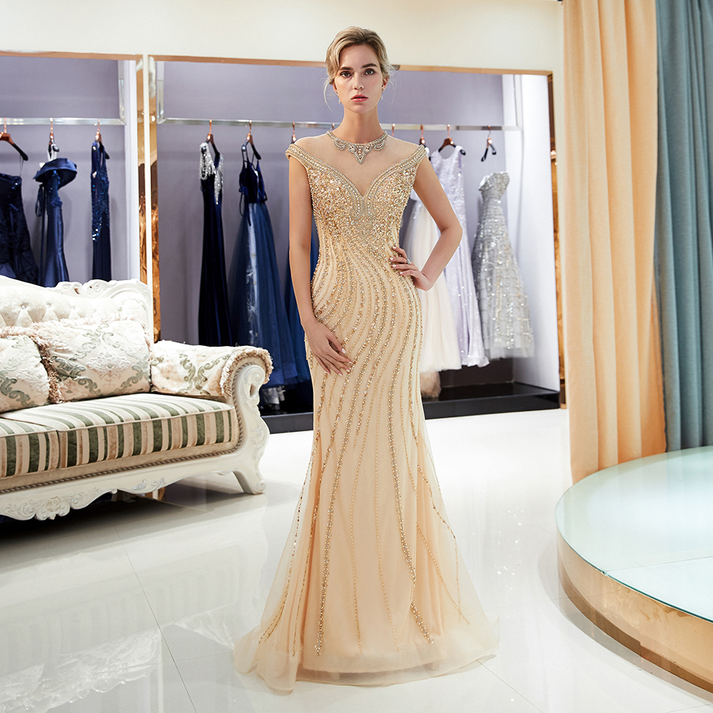 2018 Fashion Gold Evening Dress Long Formal O Neckline Sequins Beaded Trumpet Ladies Party Dresses