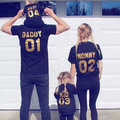2016 Hot Family Matching Clothes Daddy Mommy Baby Kids T-shirt Tops Summer Cotton Letter Tee Family Fashion Clothing