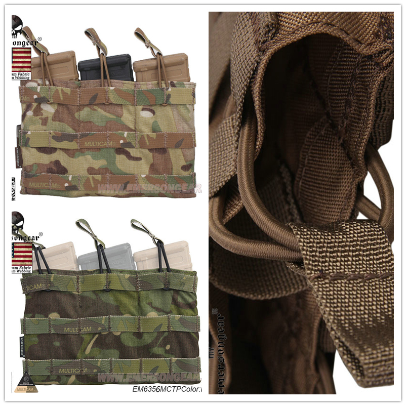 Emersongear Magazine Pouch 5.56 Triple Open Top Emerson Tactical Pouch Combat Gear EM6356 Multicam AOR1 AOR2 Coyote Brown Black