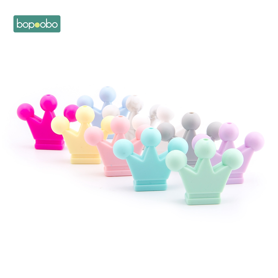 Bopoobo 10PC Silicone Beads Baby Crown Teether Sensory Chewing Toy DIY Crafts Beads Infant Toys Necklace Pendant Baby Product